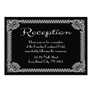 Retro European Black And White Floral Reception Card