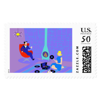 Retro Evening at Home Postage Stamps
