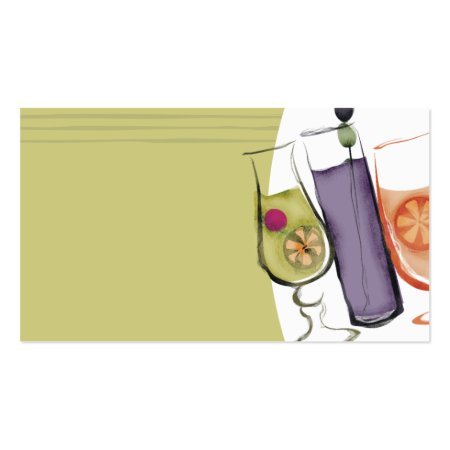 Exotic Drinks Retro Bartender Calling Cards