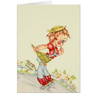 Retro Extreme Sports Roller Skater Down steep Hill Greeting Card