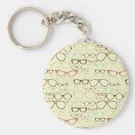 Retro Eyeglass Hipster Basic Round Button Keychain
