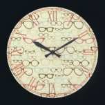 """Retro Eyeglass Hipster Large Clock<br><div class=""""desc"""">This is an awesome eyeglass hipster pattern that makes the perfect gift.</div>"""