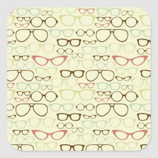 Retro Eyeglass Hipster Square Sticker