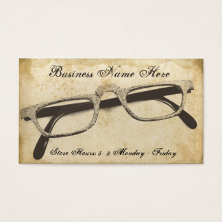 Retro Eyeglasses Grungy Paper Business Card