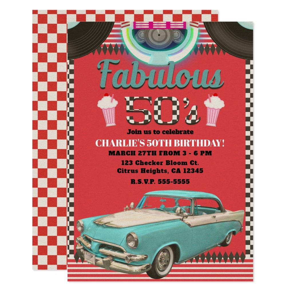 Retro Fabulous Fifties Vintage Classic Car Party Invitation