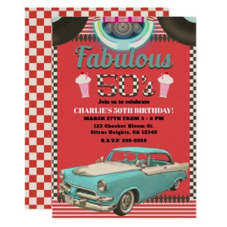 Retro Fabulous Fifties Vintage Classic Car Party Invitation