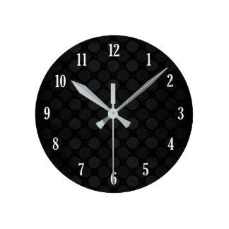 Retro faded black circles pattern round clock