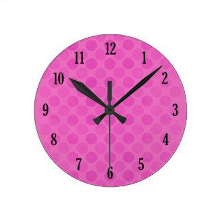 Retro faded pink circles pattern round clock