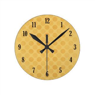 Retro faded yellow circles pattern round clock