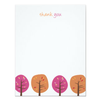 Retro Fall Trees | Flat Thank You Note Cards