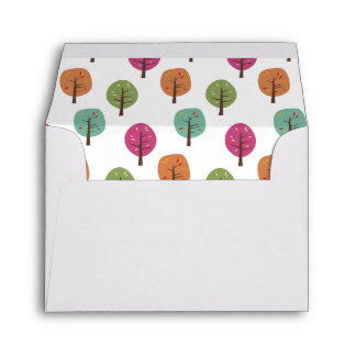 Retro Fall Trees Pattern A2 Note Card Envelopes