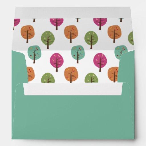 Retro Fall Trees Pattern Envelope