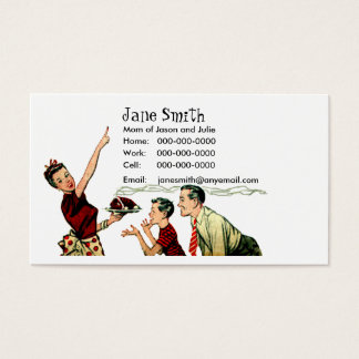 Retro Family Meal Time Contact Card