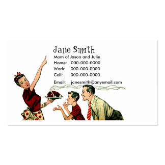 Retro Family Meal Time Contact Card Business Card