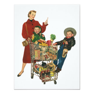 Retro Family, Mom and Kids, Cart Grocery Shopping 4.25x5.5 Paper Invitation Card