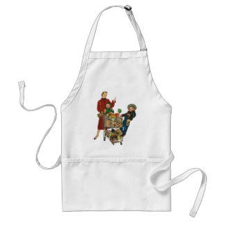 Retro Family, Mom and Kids, Cart Grocery Shopping Adult Apron