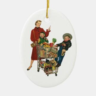 Retro Family, Mom and Kids, Cart Grocery Shopping Ceramic Ornament