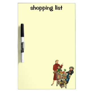 Retro Family, Mom and Kids, Cart Grocery Shopping Dry Erase Board