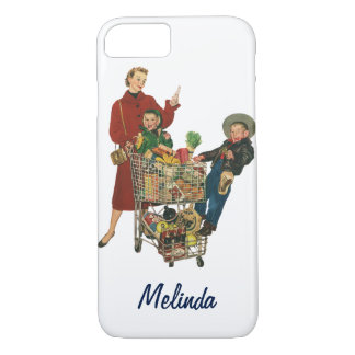 Retro Family, Mom and Kids, Cart Grocery Shopping iPhone 8/7 Case