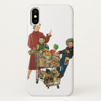 Retro Family, Mom and Kids, Cart Grocery Shopping iPhone X Case