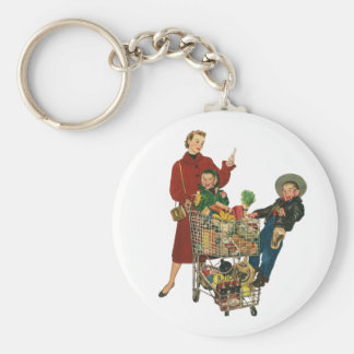 Retro Family, Mom and Kids, Cart Grocery Shopping Keychain
