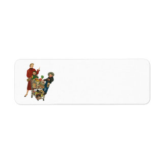 Retro Family, Mom and Kids, Cart Grocery Shopping Label