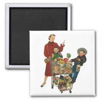 Retro Family, Mom and Kids, Cart Grocery Shopping Magnet
