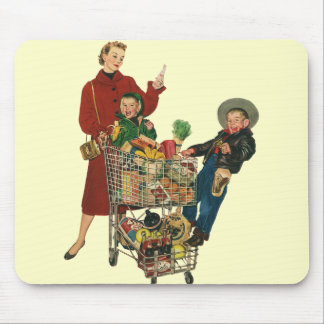 Retro Family, Mom and Kids, Cart Grocery Shopping Mouse Pad