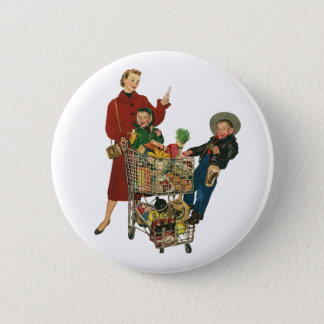 Retro Family, Mom and Kids, Cart Grocery Shopping Pinback Button