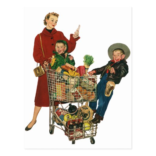 Retro Family, Mom and Kids, Cart Grocery Shopping Post Cards