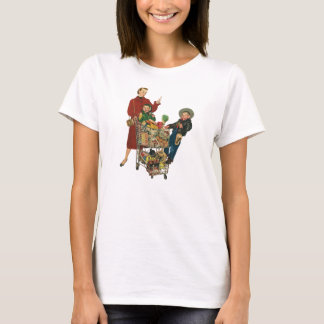 Retro Family, Mom and Kids, Cart Grocery Shopping T-Shirt