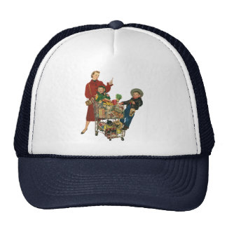 Retro Family, Mom and Kids, Cart Grocery Shopping Trucker Hat