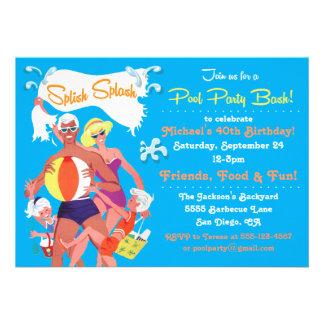 Retro Family Pool Party Invitation