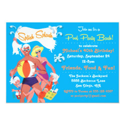 Retro Family Pool Party Invitation