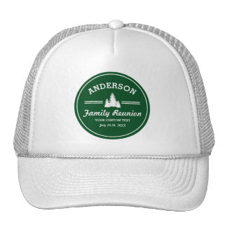 Retro Family Reunion or Trip | Rustic Pine Trees Trucker Hat