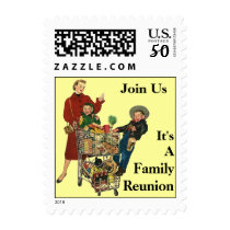 Retro Family Shopping Family Reunion Party Stamps