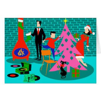Retro Family Trimming the Christmas Tree Card