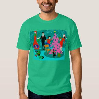 Retro Family Trimming the Christmas Tree T-Shirt