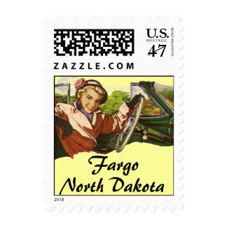 Retro Fargo ND North Dakota Stamp Vintage Car Trip
