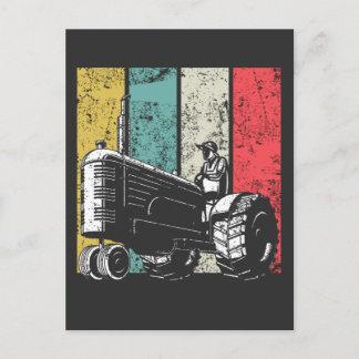 Retro Farming Dad Tractors Farmer Fathers Day Postcard