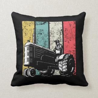 Retro Farming Dad Tractors Farmer Fathers Day Throw Pillow