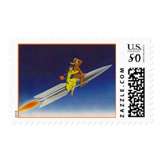 Retro Fascination w/ Space Age Travel Rocket Stamp