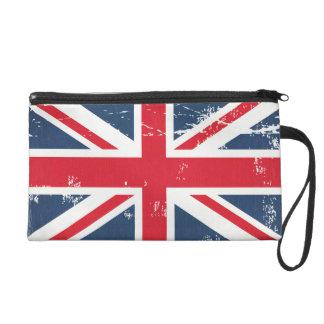 Retro Fashion Distressed Grunge UK Flag Union Jack Wristlet Purse