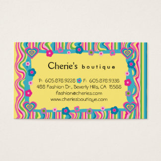 Retro Fashion Heart Business Card yellow personal