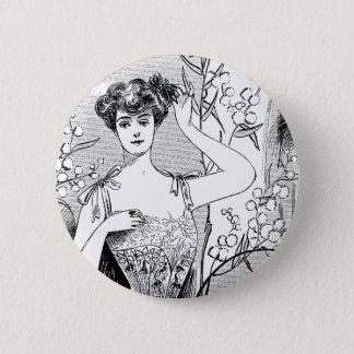 Retro fashion illustration collage button