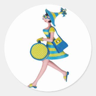 Retro Fashion Woman Classic Round Sticker