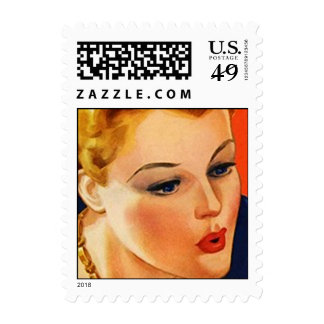 Retro Fashionable Lady stamp Postage Stamps