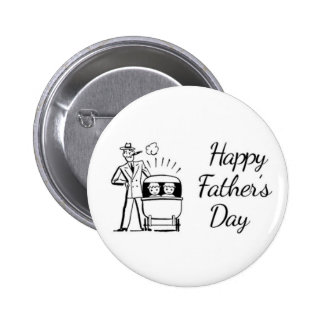 Retro Father's Day Dad and Two Babies 2 Inch Round Button