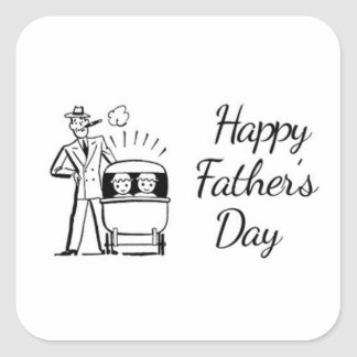 Retro Father's Day Dad and Two Babies Square Sticker