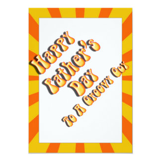 """Retro Father's Day For a Groovy Guy (Orange/Gold) 5"""" X 7"""" Invitation Card"""